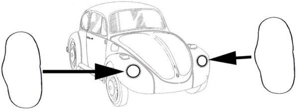Těsnění mezi blatník/světlomet/pár - Typ 1/3/181 (1961 »)