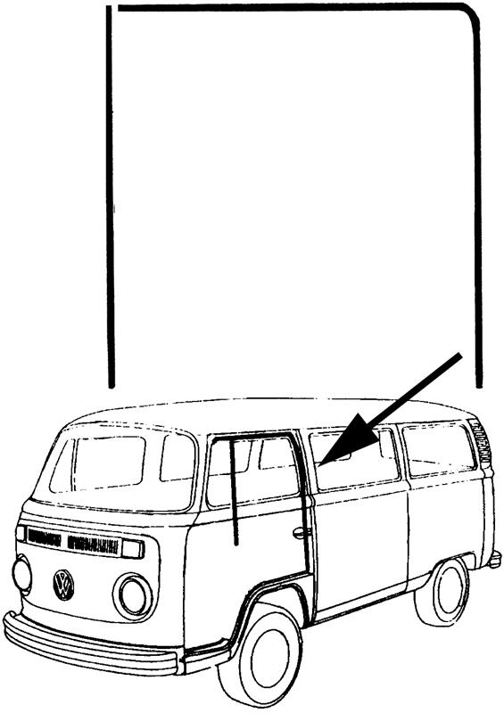 Sametka stahování skla dveří/vedení L/P - Typ 1/2 (1952 » 03)
