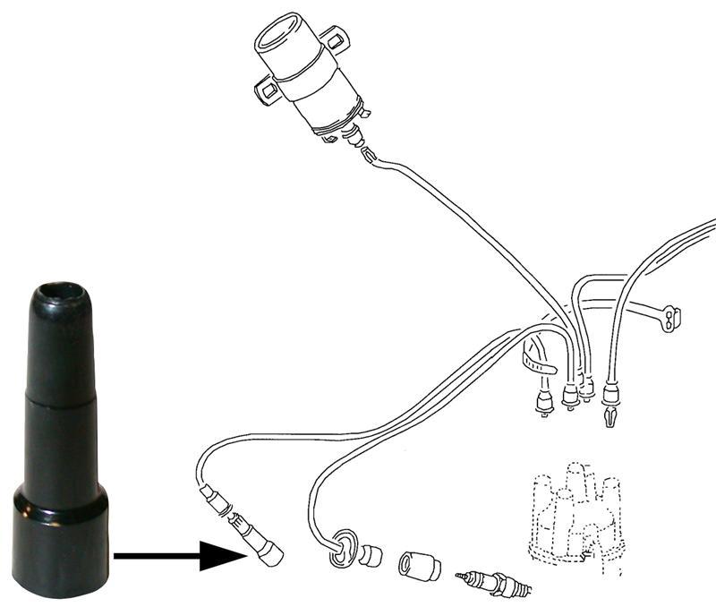 Koncovka/zapalovací kabel - Typ 1/3 motory (» 1992)