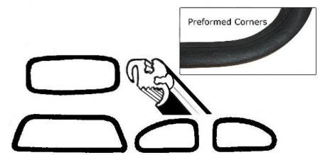 Těsnění skel pro lišty OE/kit - Typ 1 (1971 » 77)