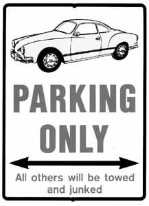 Cedule parkovací plast/červená (VW Karmann Ghia)