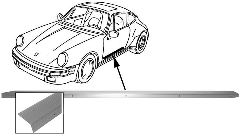 Lišta prahu dveří Alu/L - Porsche 911 (1963 » 73)