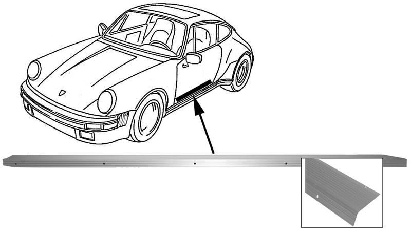 Lišta prahu dveří Alu/P - Porsche 911 (1963 » 73)