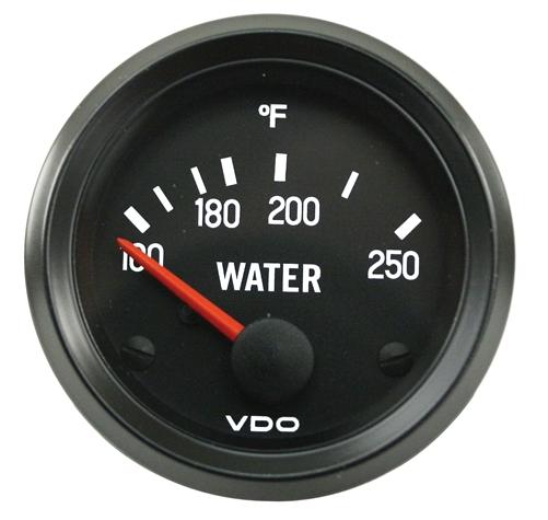 Přístroj černý/teplota vody/250°F (Ø 52mm)
