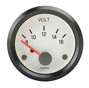 Přístroj bílý/voltmetr 8-16V (Ø 52mm)
