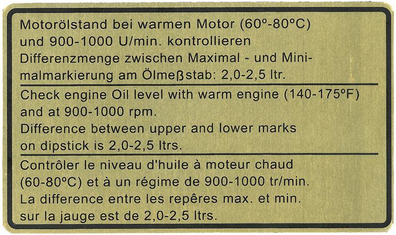 Samolepka/motorový olej - Porsche 911/Turbo (1963 » 80)