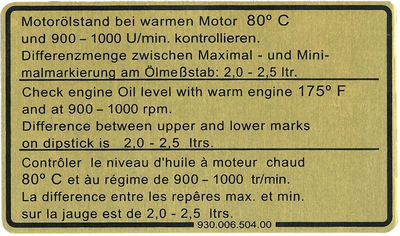 Samolepka/motorový olej - Porsche 911 (1977 » 80)