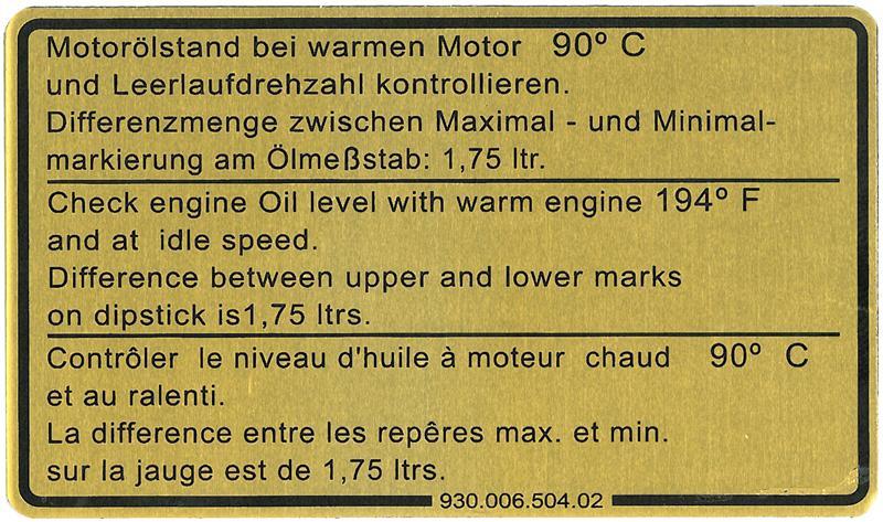 Samolepka/motorový olej - Porsche 911 (1980 » 89)