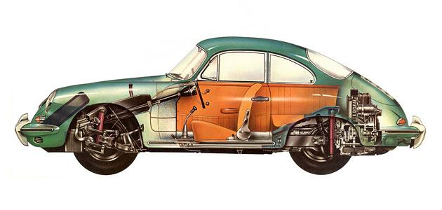 Příčka nárazníku/přední L - Porsche 356 B/C (1959 » 65)
