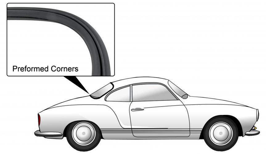 Těsnění skla pro lištu OE/zadní - Typ 14 (1967 » 74)