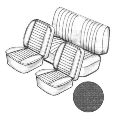 Potahy sedadel/černý vinyl čtvercový/kit - T.1 Cabrio (1976 »)