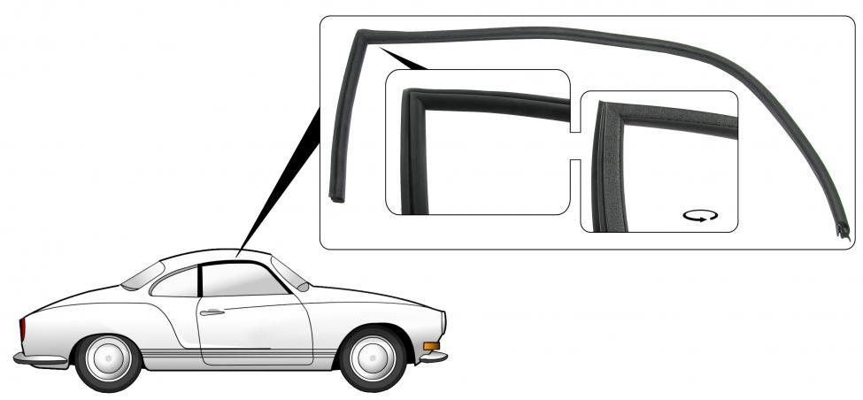 Těsnění skla dveří/P - Typ 14 Coupe (1971 » 74)