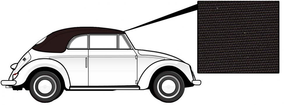 Čalounění střechy/hnědá látka - T.1 Cabrio (1957 » 62)
