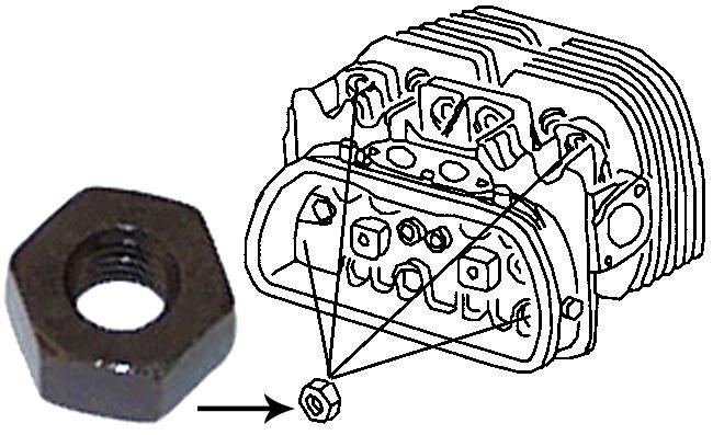 Matice M10mm/svorník hlavy motoru - Typ 1/3 motory (» 2003)