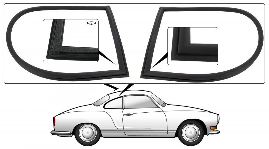 Těsnění rámu/boční výklopná skla/pár - Typ 14 (1971 » 74)