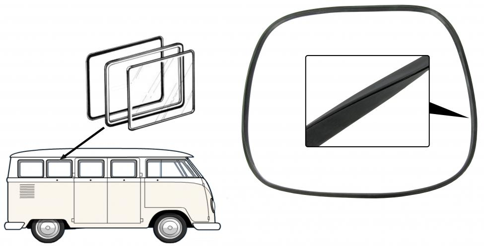 Těsnění rámu/boční výklopné okno L/P - Typ 2 (» 1967)