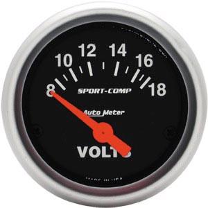 Přístroj černý/voltmetr 8-18V (Ø 67mm)