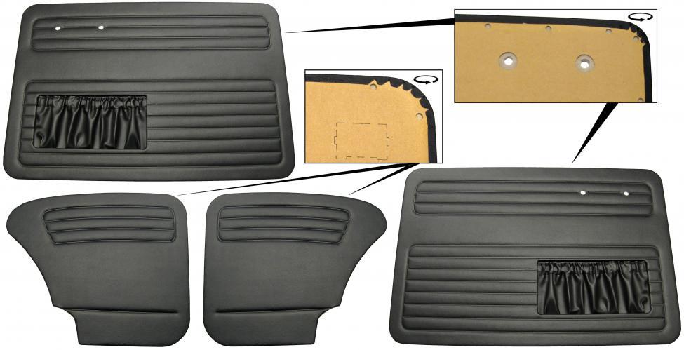 Panely dveří černé OE/kit - Typ 1 (1964 » 66)
