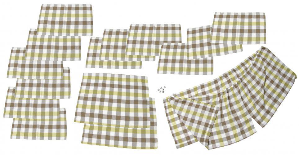 Záclonky bílo/žluté/hnědá kostka/15ks - Typ 2 Westfalia (» 1967)
