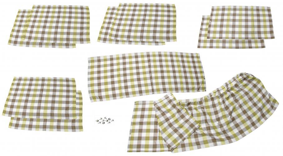 Záclonky bílo/žluté/hnědá kostka/10ks - Typ 2 Westfalia (1967 » 74)