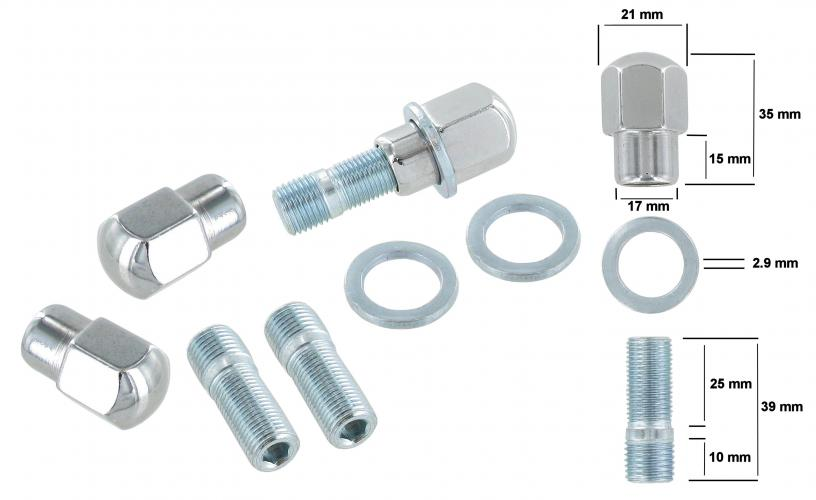 Matice kola a svorníky/chrom (M14x1.5mm)