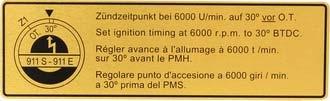 Samolepka/zapalování - Porsche 911 E/S (1969 » 71)