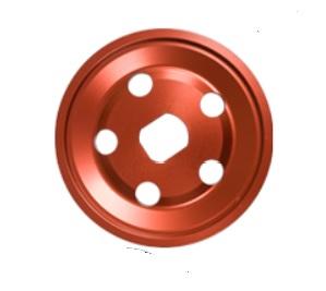 Řemenice Alu červená 1/2 alt/gen - Typ 1 motor (1960 »)