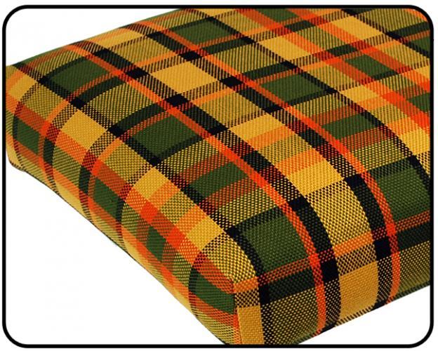 Pohovka+lůžko žluté/zelená/červená kostka - Typ 2 Westfalia (1967 » 79)
