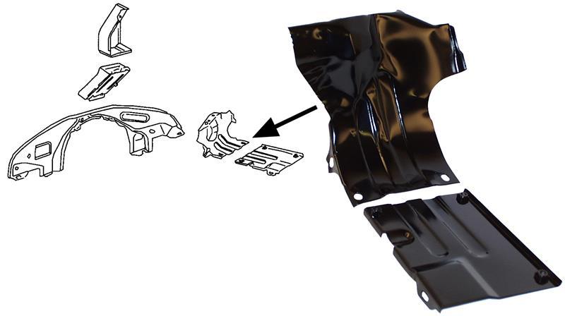 Krycí plechy spodní/černé L/P - Typ 1 motor (1967 » 03)