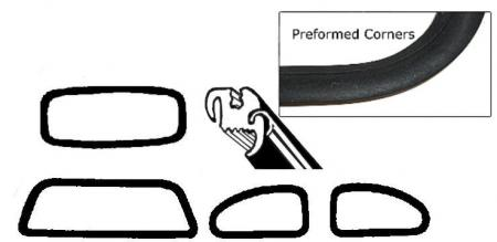 Těsnění skel pro lišty OE/kit - Typ 1 (1964 » 71)