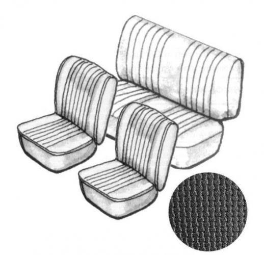 Potahy sedadel/černý vinyl/kit - T.1 Cabrio (1973 » 76)