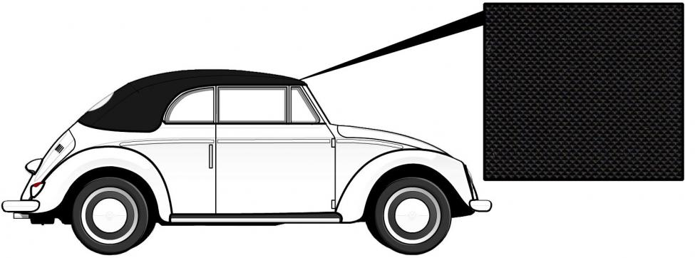Čalounění střechy/černý vinyl - T.1 Cabrio (1966 » 72)