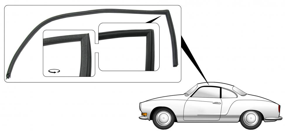 Těsnění skla dveří/L - Typ 14 Coupe (1971 » 74)