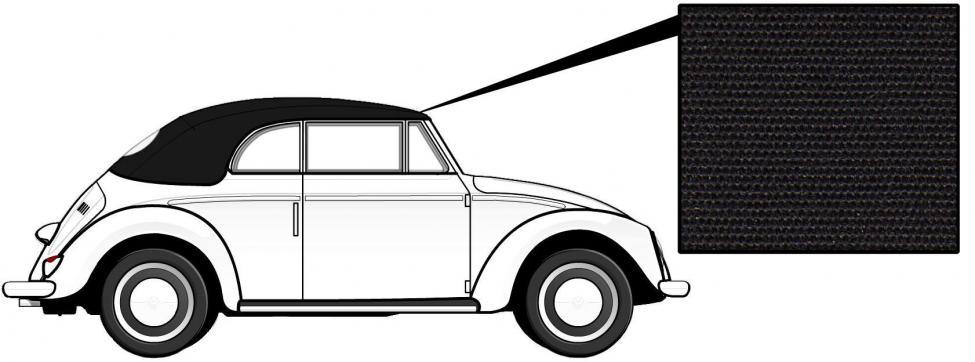 Čalounění střechy/černá látka - T.1 Cabrio (» 1957)