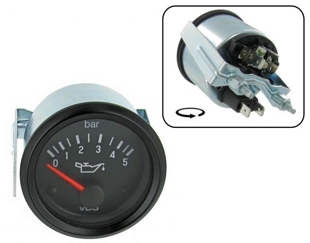 Přístroj černý/tlak oleje/5 Bar (Ø 52mm)