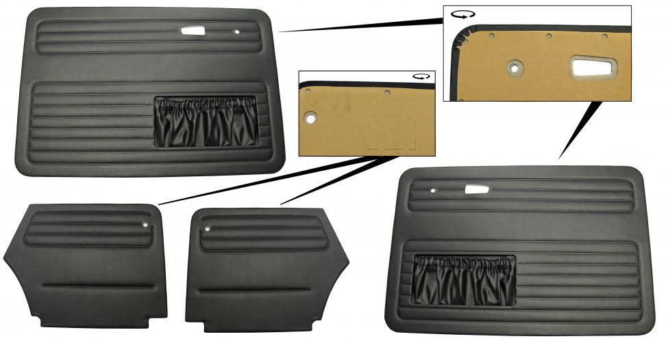 Panely dveří černé OE/kit - T.1 Cabrio (1964 » 66)