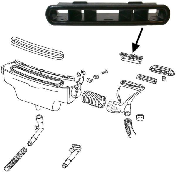 Mřížka palubní desky/ventilace středová - Typ 1 (» 1970)