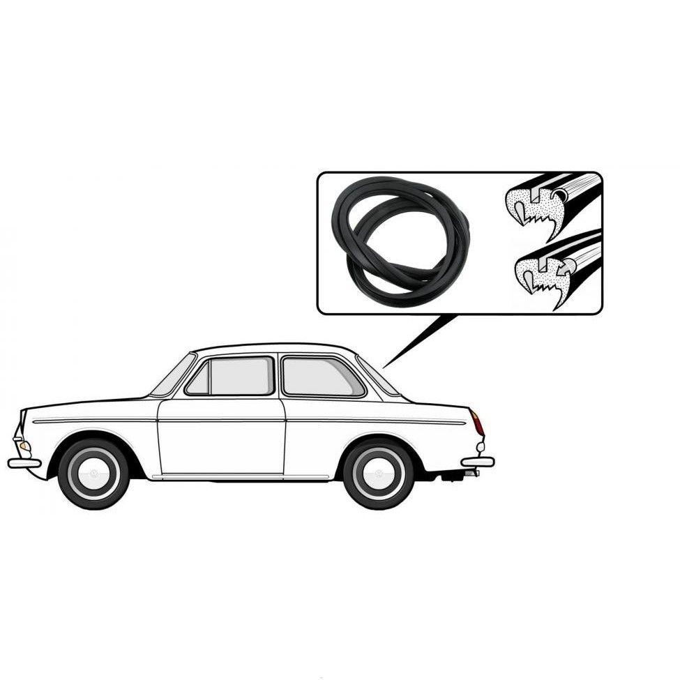 Těsnění skla pro lištu/zadní - Typ 3 (Notchback)
